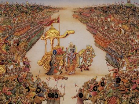 Krishna instructs Arjuna