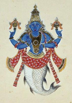 Half Human and Half fish - Matsya Avatar, depicted in Blue.