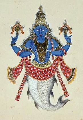 Half Human and Half fish - Matsya Avatar, depicted in Blue.