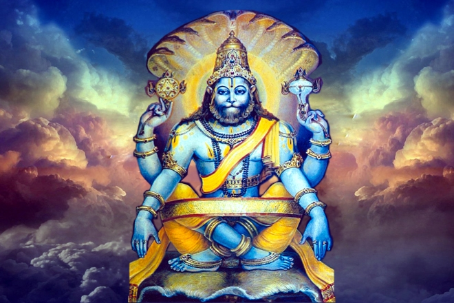 NaraSimha Avatar- Feline face with a human body depicted in blue.